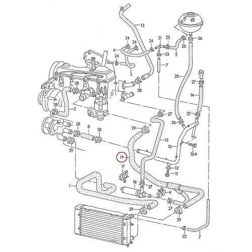 Water hose between the flange and auxiliary water pump for
