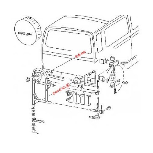 Spare wheel holder fasteners for Transporter Syncro 85