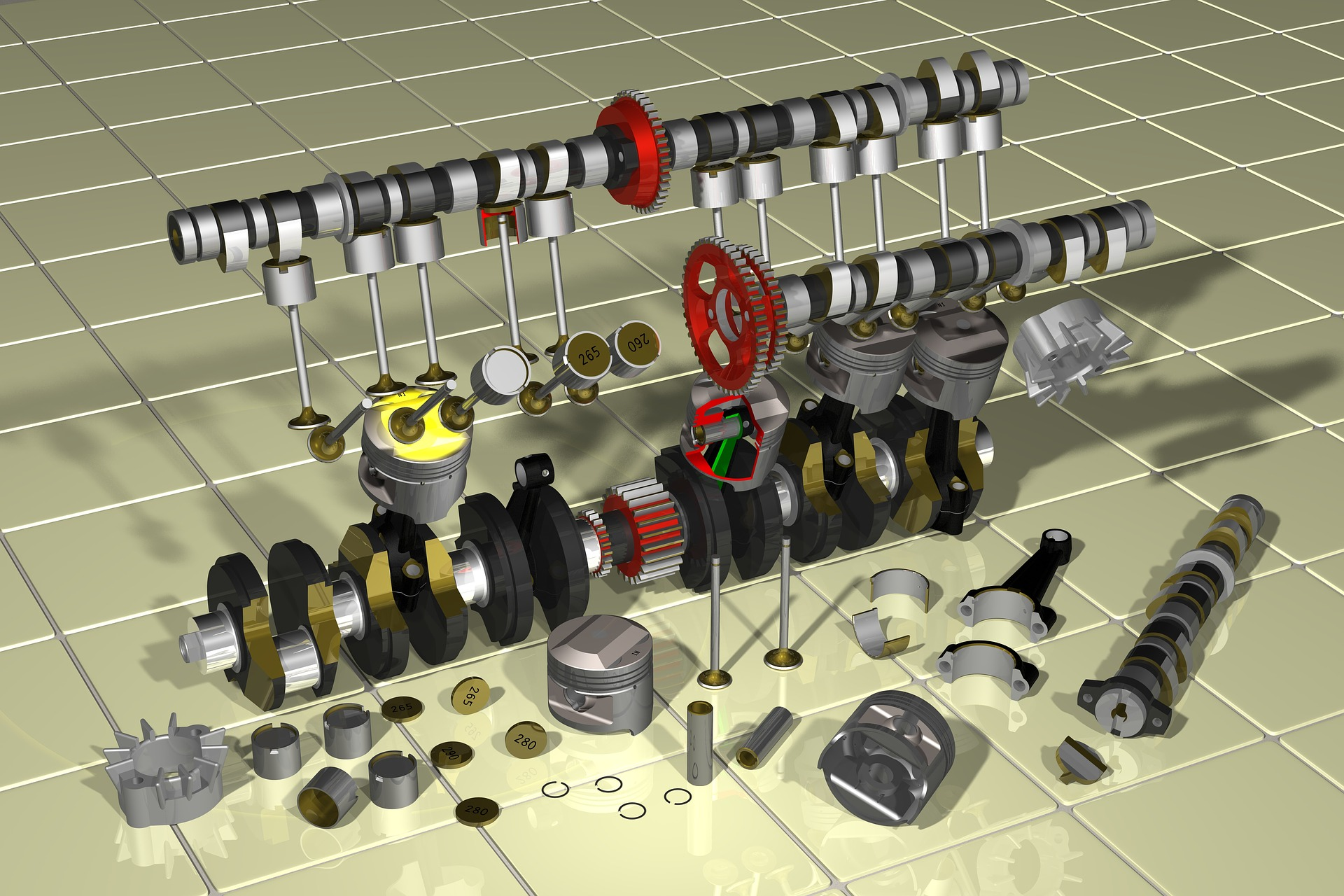 hight resolution of main parts of an engine
