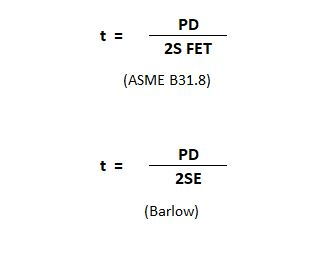 ASME B31.8 minimum wall thickness calculation