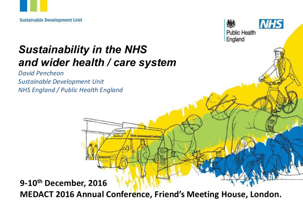 "David Pencheon – ""Sustainability in the NHS and wider health / care system"""