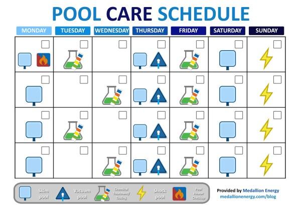 pool care schedule pool heat pumps pool maintenance schedule