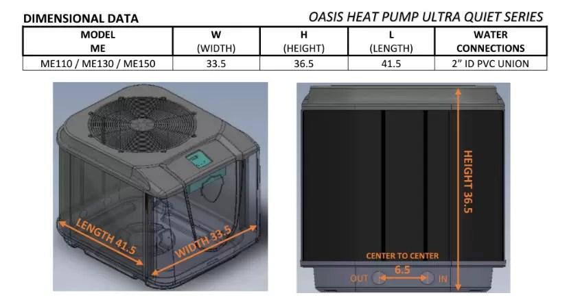 oasis ultra quiet dimensions oasis platinum ultra quiet heat pump