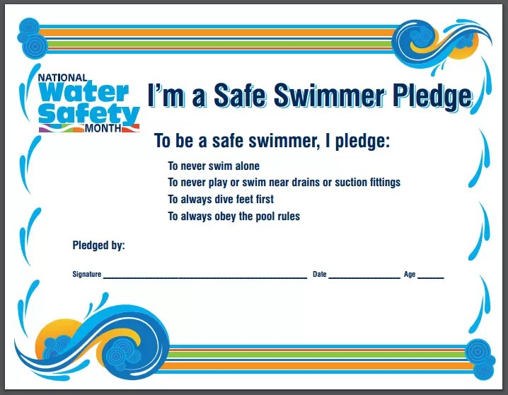 safe swimmer pledge water safety tips pool safety guidelines nationalwatersafetymonth