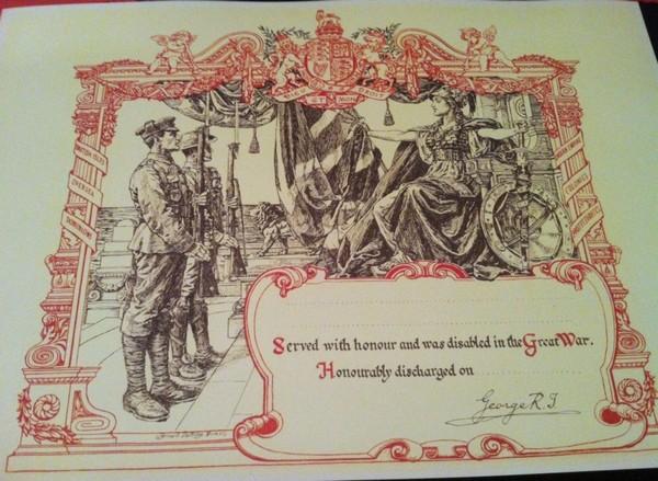 FACSIMILE DOCUMENTSKings Honourable Discharge Cert