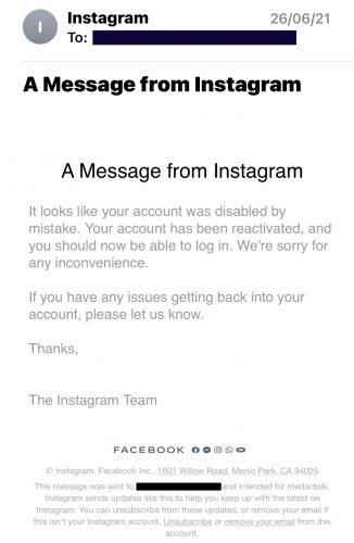 instagram medantalk disabled mistake