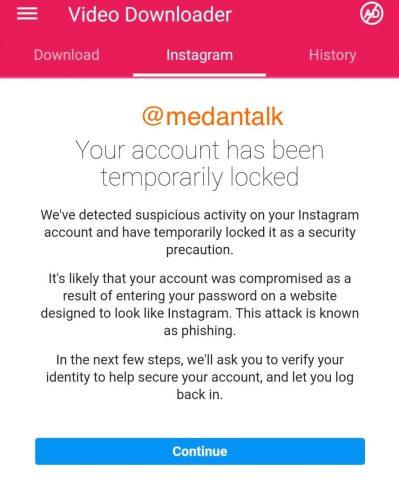 instagram locked phising