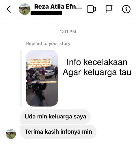 info kecelakaan agar keluarga tau