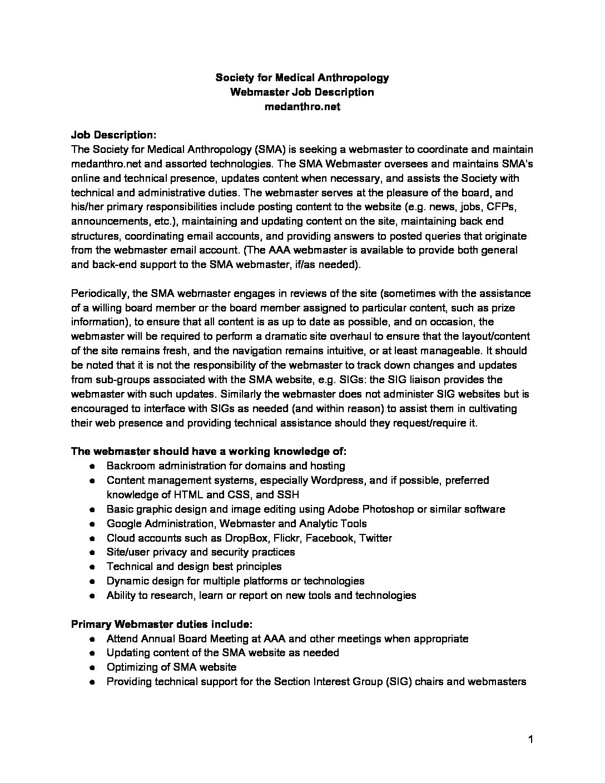 webmaster job description - Yelom.myphonecompany.co