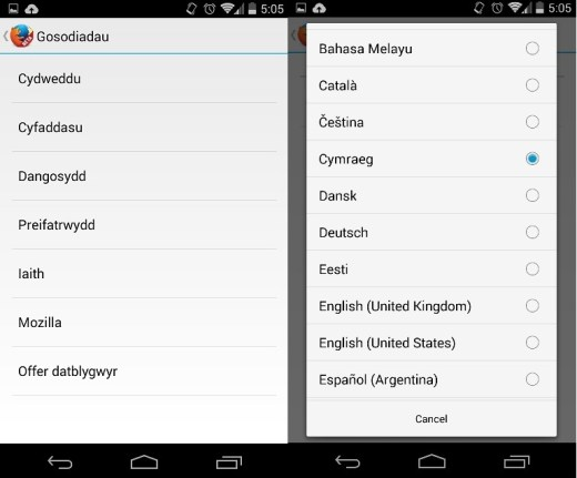 Firefox Beta - Dewis iaith