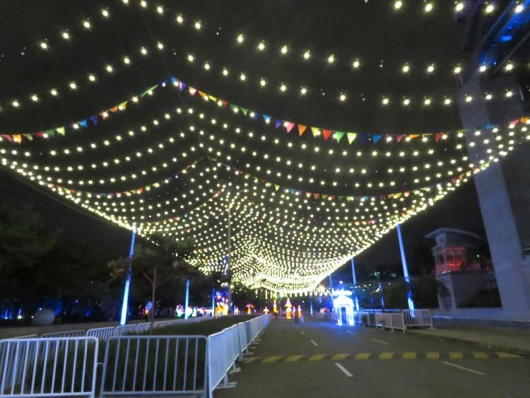 Christmas lights run over the walkways around Plaza Mayor