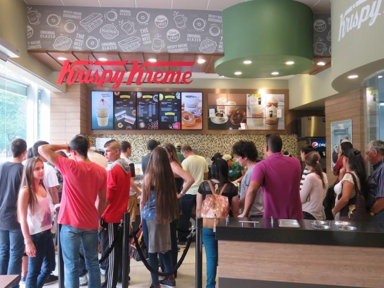 Inside Krispy Kreme placing orders