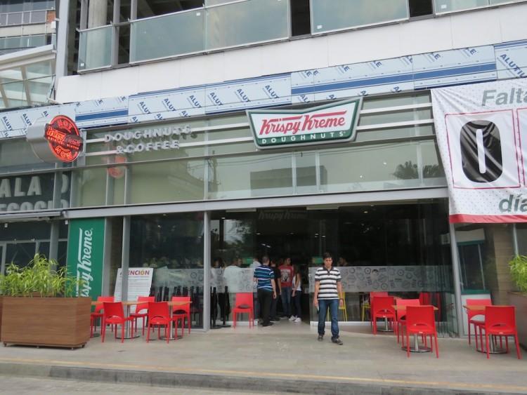 Front of the new Krispy Kreme store in El Poblado