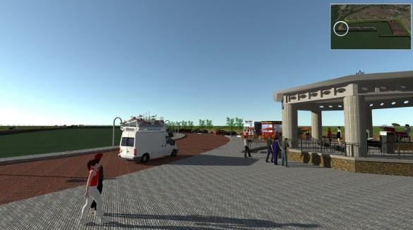 toegangskade met pleinfunctie en kiosken