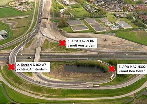 Nachtafsluitingen toe- en afritten afslag 9 A7 Hoorn-Noord