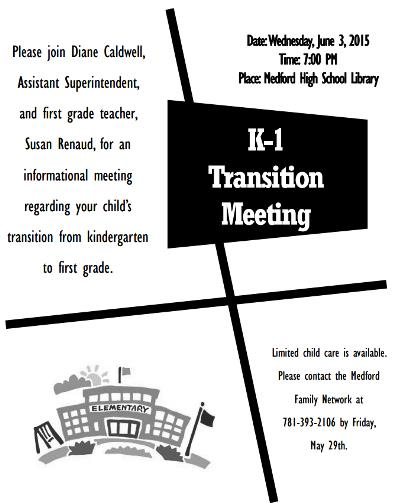 K to 1 transition meeting June 3