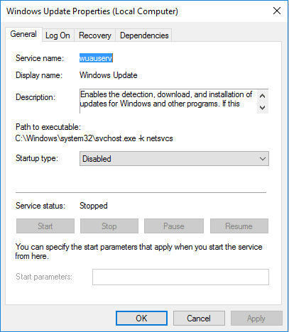 Windows update in Windows 10