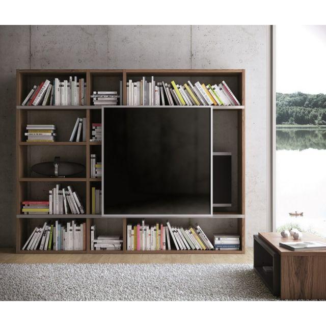 temahome pombal meuble tv noyer pm avec facade coulissante en verre pas cher achat vente bibliotheques vitrines rueducommerce