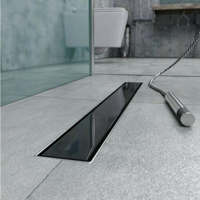 caniveau de douche en verre noir