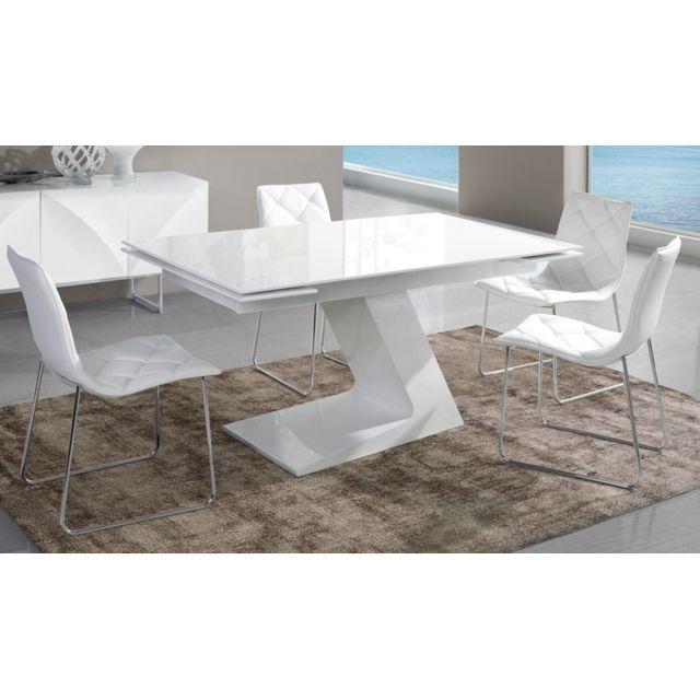 table de salle a manger extensible blanc laque design helga