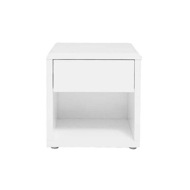 miliboo table de chevet design laquee blanche elio
