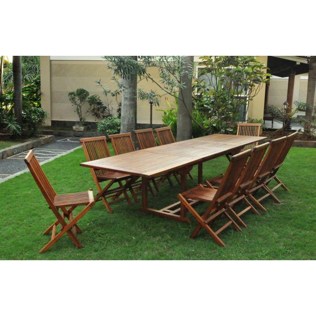 salon de jardin teck massif huile 12 14 pers chaises table rectangle 300cm