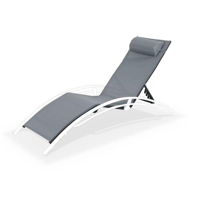 chaise longue aluminium anthracite