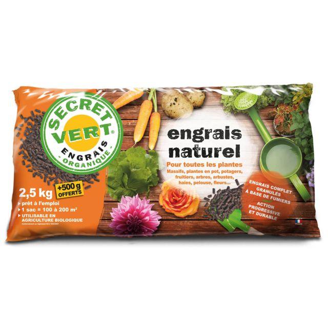 SECRET VERT Engrais naturel bio pour toutes les plantes 2,5 kg + 500 g offerts