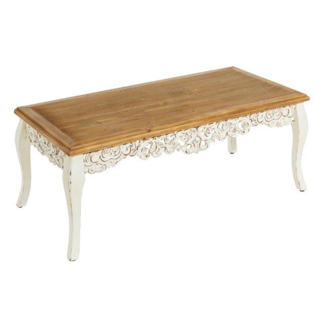 table basse bois blanc sculpte eloise