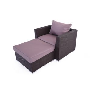 ensemble fauteuil et pouf en resine tressee bayahibe chocolat coussins chocolat clair