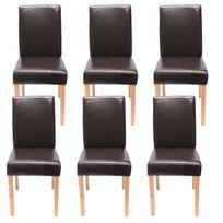mendler lot de 6 chaises de sejour littau simili cuir marron