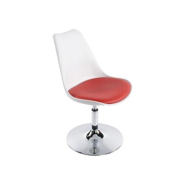 decodesign chaise moderne pivotante raven reglable en hauteur blanche et rouge blanc