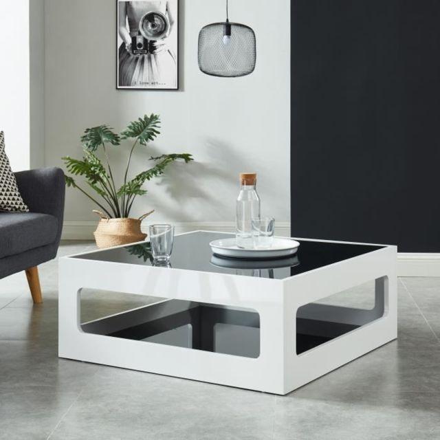 table basse laque noir verre