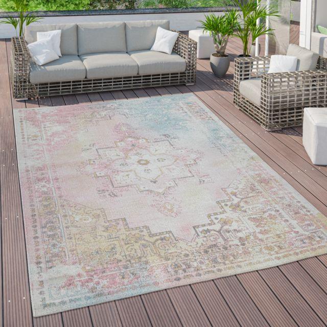 tapis d exterieur terrasse vintage tapis de cuisine motif oriental pastel rose jaune