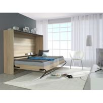 marque generique lit escamotable horizontal 140 x 200 chene sonoma