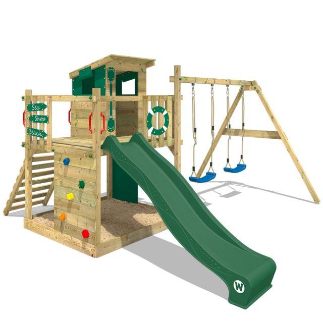 aire de jeux portique bois smart camp avec balancoire et toboggan vert cabane enfant exterieur avec bac a sable echelle d escalade accessoires de
