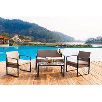ALICES GARDEN  Bergamo Noir  Salon de jardin en rsine tresse 6 chaises Noir table d