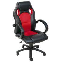 helloshop26 fauteuil de bureau chaise siege sport ergonomique confortable noir et rouge 0508008