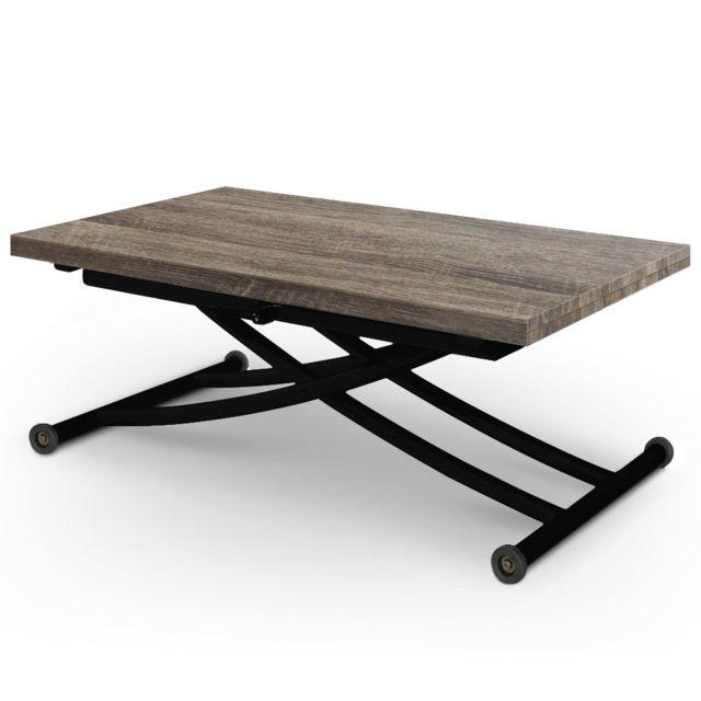 ego design table relevable ilona noir et bois vintage