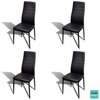 casasmart lot de 4 chaises salle a manger design noir
