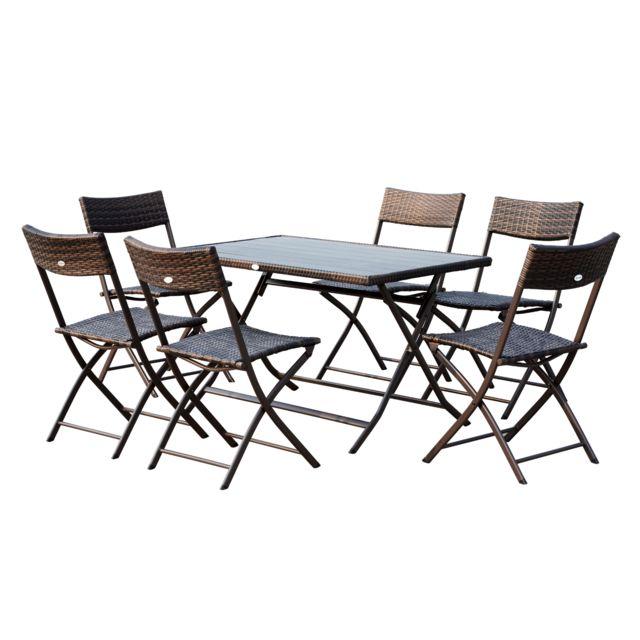 outsunny ensemble salon de jardin 6 personnes grande table rectangulaire pliable 6 chaises pliantes
