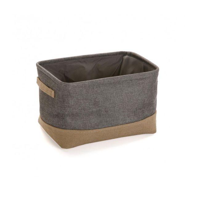 panier de rangement salle de bain tissu gris