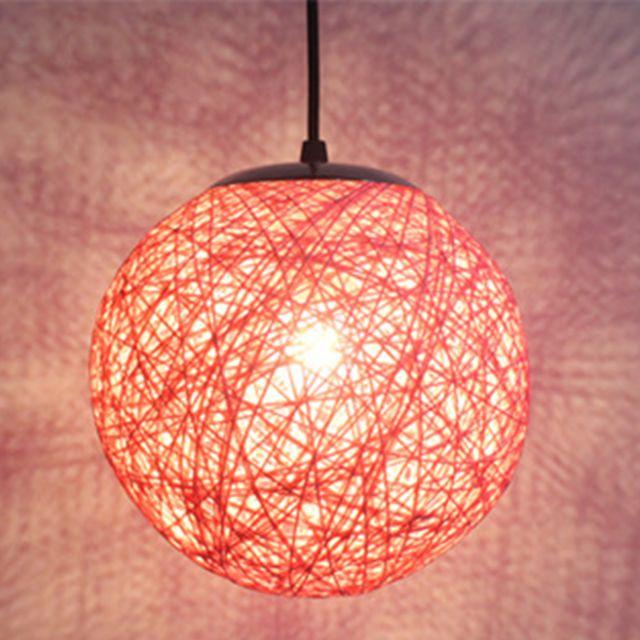 retro suspension luminaire en rotin globe rond 20cm lustre abat jour diy lampe plafond e27 pour salon restaurant centre commercial bar rose