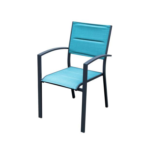 fauteuil de jardin empilable aluminium et textilene bleu