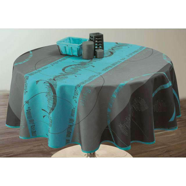 le linge de jules nappe anti taches astrid turquoise taille ronde diametre