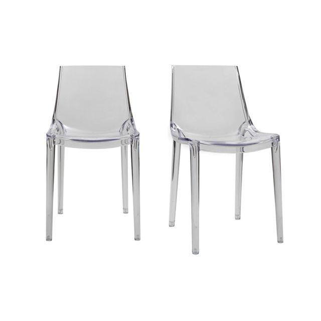 chaises design empilables transparentes interieur exterieur lot de 2 yzel