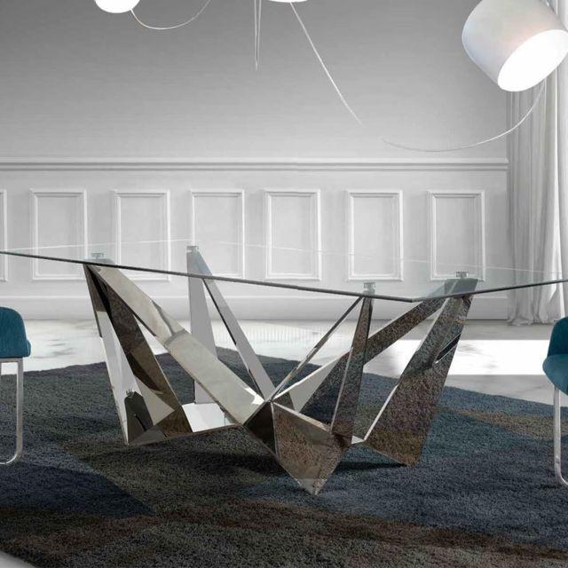 nouvomeuble table en verre et acier design apollon