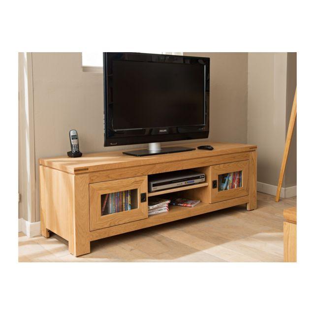 hellin meuble tv bas moderne en chene clair boston