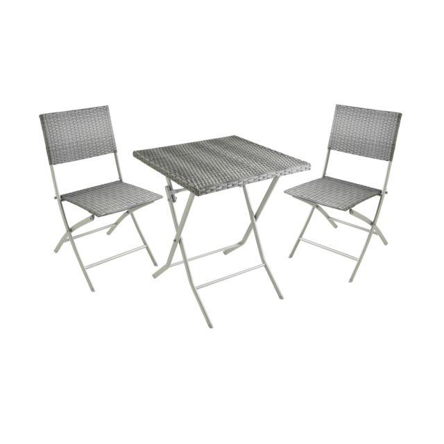 carrefour balcon set table et 2 chaises resine tresse gris fse233