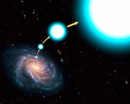 """Rappresentazione artistica di una """"classica"""" stella iperveloce, spinta fuori dalla galassia. Crediti: NASA, ESA, and G. Bacon (STScI)"""